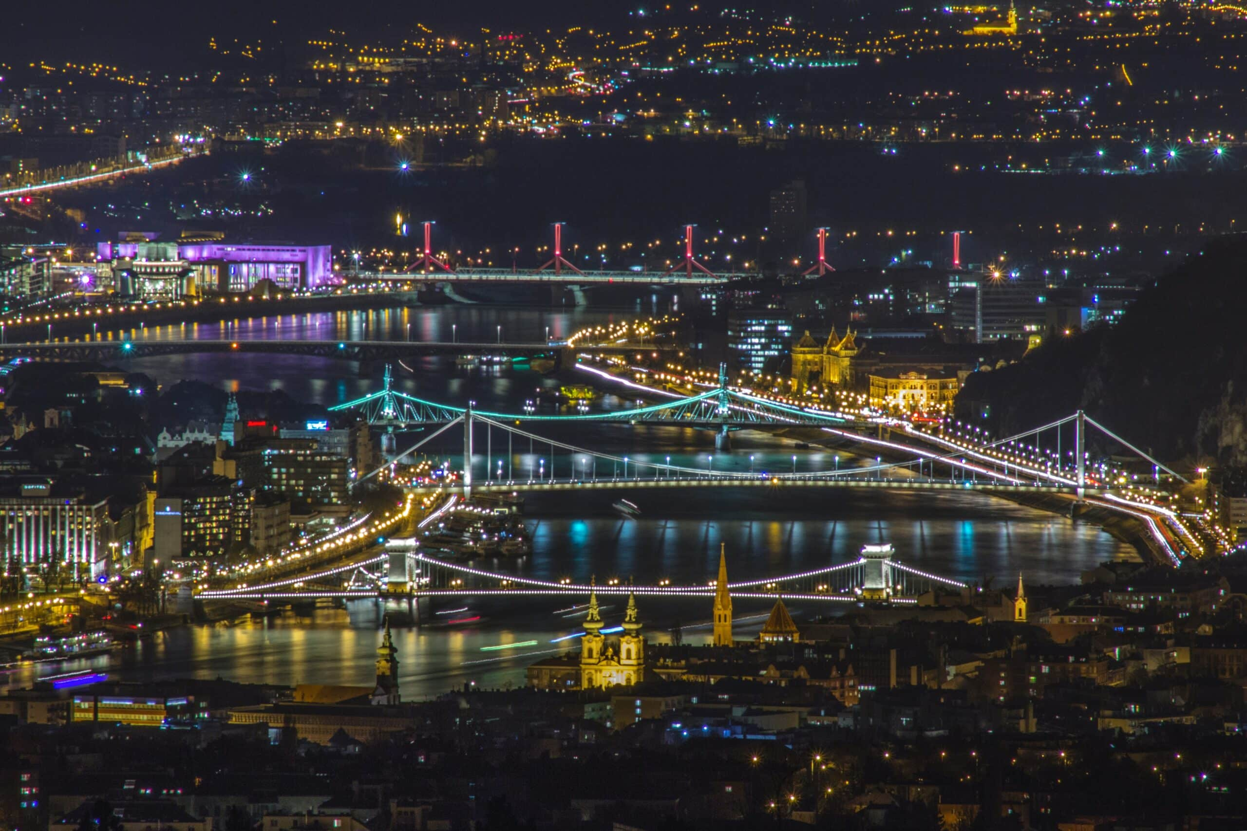 aerial photo of lighted city