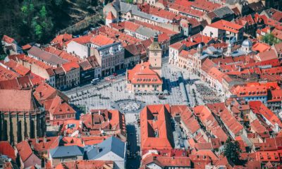 aerial photo of village