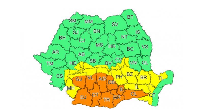 Ploi torențiale în zece județe și București. Autoritățile au emis cod portocaliu de vreme severă